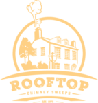 Logo Rooftop Chimney Sweeps Yellow Emblem Small